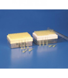 PIPETTE TIPS IN RACKS, TYPE: GILSON PP, 2-200uL, YELLOW, 96 PLACE