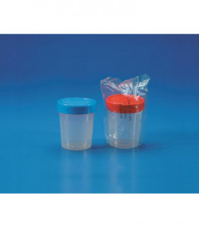 CONTAINER + S/CAP (RED) PP 150ml STERILE, I/W, 62.5mm D, 73mm H