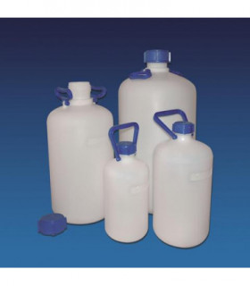 BOTTLE-STORAGE N/N HDPE, 5LT, Neck 52.5 mm int, 62.5mm ext, 1 HANDLE, 170mm D, 345mm H