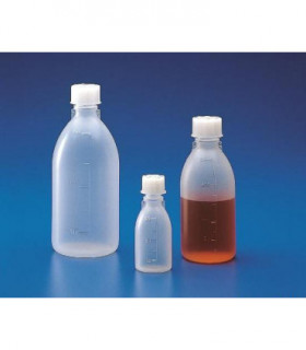 BOTTLE STD & CAP N/N PP, 1LT, Grad 100ml, 95mm D, 224mm H, MOUTH 23mm D