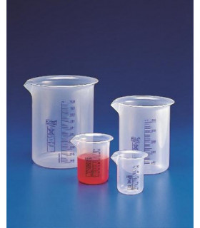 BEAKER BLUE GRAD PP, 100ml, Sub. 5ml, 51mm D, 72mm H, Tol +/- 10%