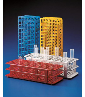TEST TUBE RACK-UNIVERSAL PP, 20mm D HOLES, RED, 40 PLACE, 105x246x72mm