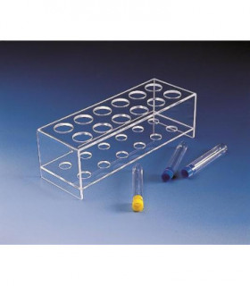 RACKS, TEST TUBE PMMA, 2 TIER, 12PL, HOLES 28mmD, 90.2x255.4x81mm